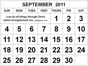 ... this Free Christian Monthly Calendar 2011 September with Bible verses