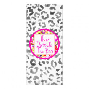 Girly Pink Quote Floral watercolor leopard pattern Custom Rack Card