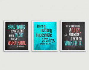 ... - Set of 3 Prints - Elementary Middle High School Hard Work Posters