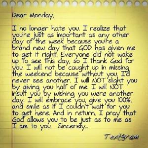 Dear Monday #Monday #Prayer #Christian #Quotes