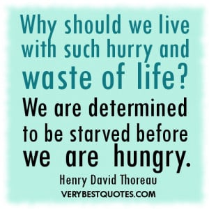 Living life quotes - Why should we live with such hurry and waste of ...