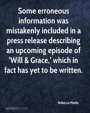 Rebecca Marks - Some erroneous information was mistakenly included in ...