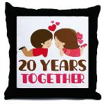 20 Years Together Anniversary Throw Pillow