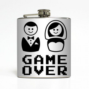 Game Over Whiskey Flask Funny Groom Bride Men Bachelor Party Husband