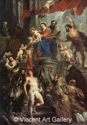 A4421, RUBENS, P.P. Madonna and Child Enthroned with Saints