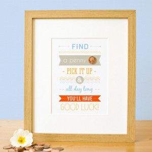 Good Luck Penny A5 Quote Print. English Penny. Leaving Gift. Lucky ...