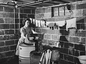 washing clothes washing clothes in the basement of the fergusen house ...