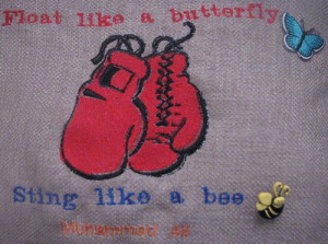Embroidered pillow Float like a butterfly sting like a bee