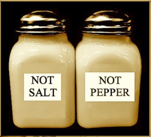 Reverse psychology -- Salt and pepper shakers