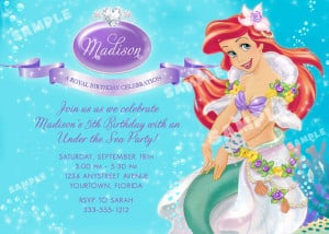 Ariel Invitation for Little Mermaid Birthday Party - Printable File