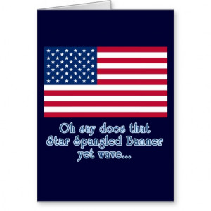 American Flag with Star Spangled Banner Quote Cards
