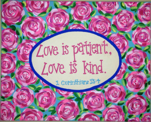 Lilly Pulitzer Inspired Rose Painting with Bible Verse