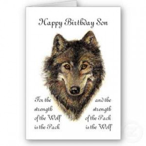 Son Birthday Wolf and Pack Quote Cards by countrymousestudio