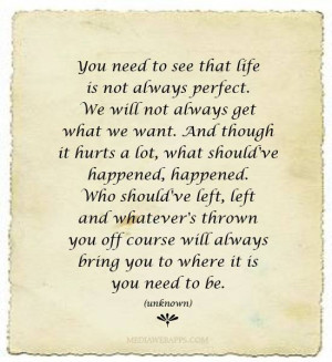 You need to see that life is not always perfect. We will not always ...