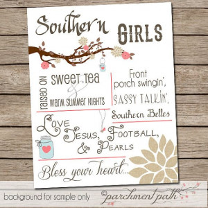 Southern Girls - Wall Art Print - Southern Girls Quote