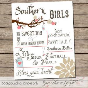 Southern Girls - Wall Art Print - Southern Girls Quote