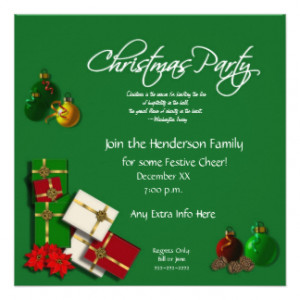 Festive Christmas Party Invitation-with Quote