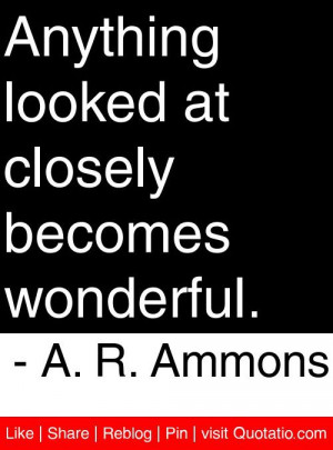 ... looked at closely becomes wonderful a r ammons # quotes # quotations