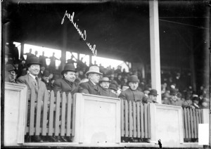 White Sox president Charles Comiskey, sitting in a front row seat in ...