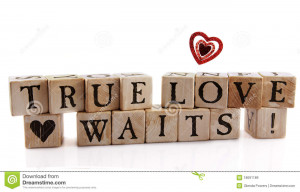 Alphabet blocks that spell out True Love Waits! with a supporting ...