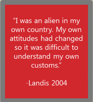 reverse culture shock quote from landis