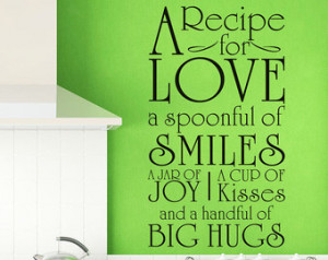 ... Wall Stickers Vinyl Decal Quote - A recipe for love - Kitchen Family