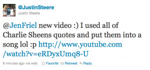 oh yeah charlie sheen looky looky what was just tweeted to me