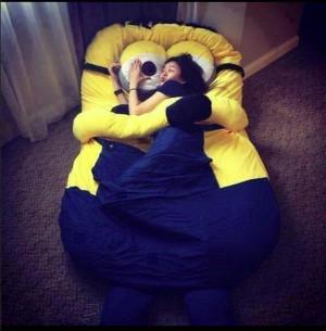 bedding minion bedding sleeping yellow blue despicable me cute girl ...