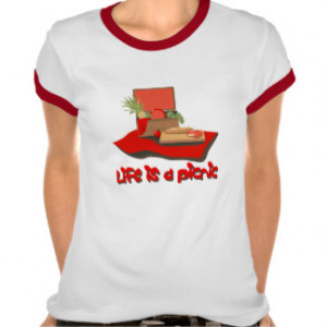 Life is a Picnic Basket Ladies Ringer T-shirt