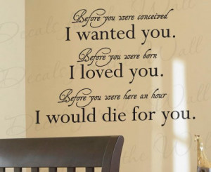 Wanted You Born Loved - Girl's or Boy's Room Kids Baby Nursery - Quote ...