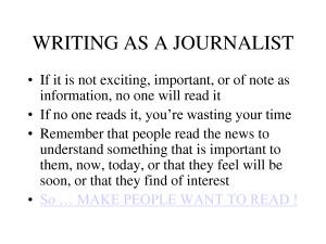 Journalistic Writing Journalism Quote