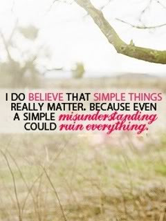 do believe that simple things really matter ~ Attitude Quote