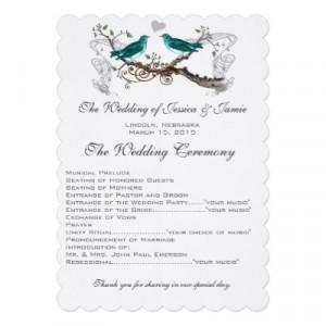 Vintage Teal Love Birds Wedding Program Custom Invites