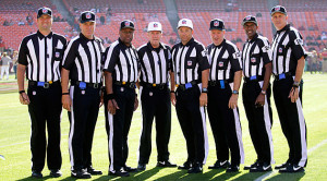 Replacement officials pose for a photo prior to a preseason game over ...