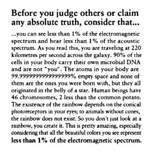 Before you judge other or claim any absolute truth