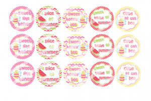 Girly Sayings Summer Time Bees and Watermelons 1 inch Bottle Cap ...