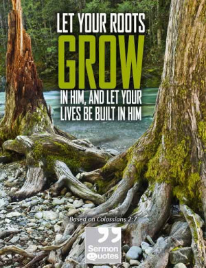 Let your roots grow in Him, and let your lives be built in Him.