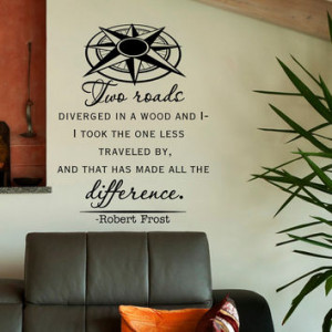 Quote Two Roads Diverged Wall Decals Vinyl Lettering Travel Nautical ...