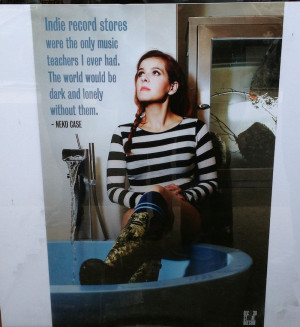 ... Case with a personal quote on her feelings about indie record stores
