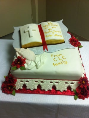 Pastor appreciation cake with bible and praying hands