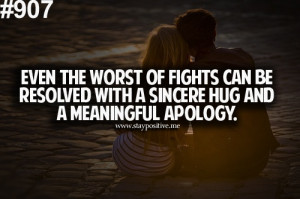 sincere hug and a meaningful apology