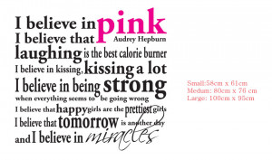 Details about I Believe in PINK Audrey Hepburn Quote Wall Lettering ...