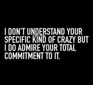 don't understand your specific kind of crazy, but I do admire your ...