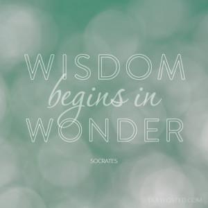 "Wisdom begins in Wonder"" life philosophy quote by Socrates."