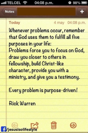 Every Problem is Purpose Driven 'Rick Warren'