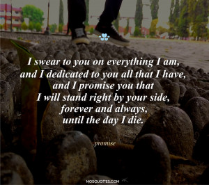 promise you that I will stand right by your side