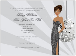 African American Disco Girl Christmas Party Invitations
