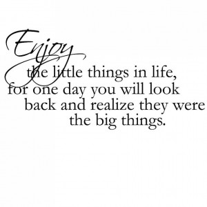 ... Enjoy The Little Things In Life For One Day You Will Look Back Quote