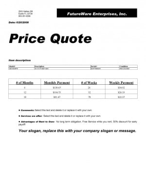 Sample Price Quote Printed with RTO Pro