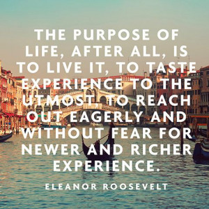 Our purpose in this life is to (try) and enjoy every moment.